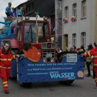 Begleitung des Motivwagens der Karnevalsfreunde Bad Salzig-Weiler (Quelle: DLRG Bad Salzig/Mahlberg)